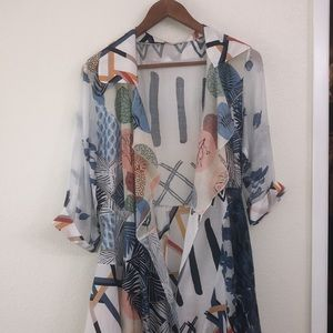 radzoli print open front Floral  and Leaf cardigan